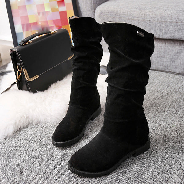 Autumn Winter Boots Women Sweet Boot Stylish Flat Flock Shoes Snow Boots - onemagic