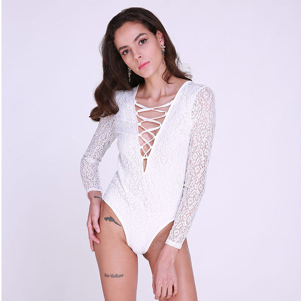 Women Summer Bodycon Lace Floral Bodysuit 2018 New Sexy V Neck Lace Up Long Sleeve Elegant Playsuits Club Party Jumpsuit Rompers - onemagic