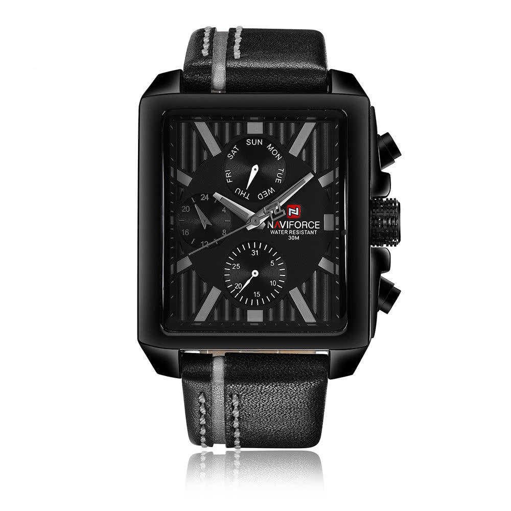 NAVIFORCE Luxury Genuine Leather Quartz Men Watch Square Dial 3ATM Water-Proof Man Casual Wristwatch with Sub-dials + Box - onemagic