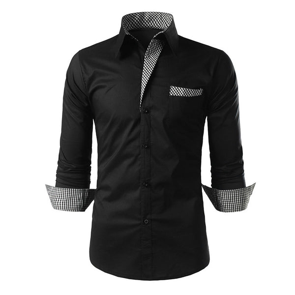 Brand New 2018 Dress Shirts Mens Striped Shirt Cotton Slim Fit Chemise Long Sleeve Shirt Men New Shirts White Plus Size - onemagic