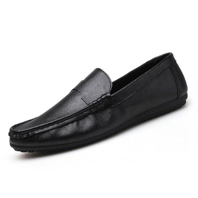 Tangnest NEW Arrivals Men Loafers Solid Pu Leather Driving Shoes For Male Casual Shallow Slip-on Flat Shoes Black Gold - onemagic