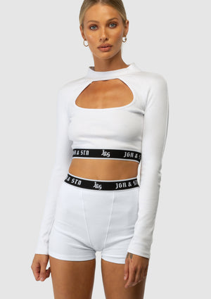 The J&S Cut Out Long Sleeve Top - White