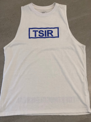 TSIR White With Blue Logo Muscle Tank
