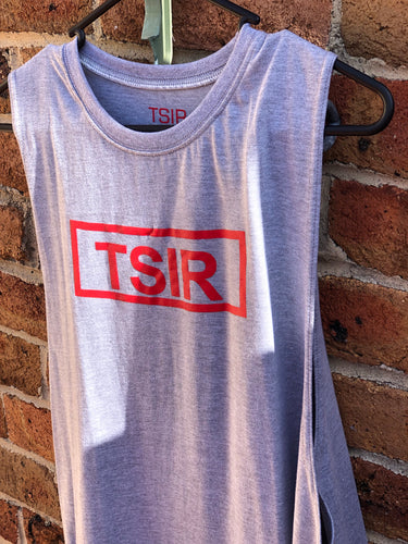 TSIR Grey With Red Logo Muscle Tank