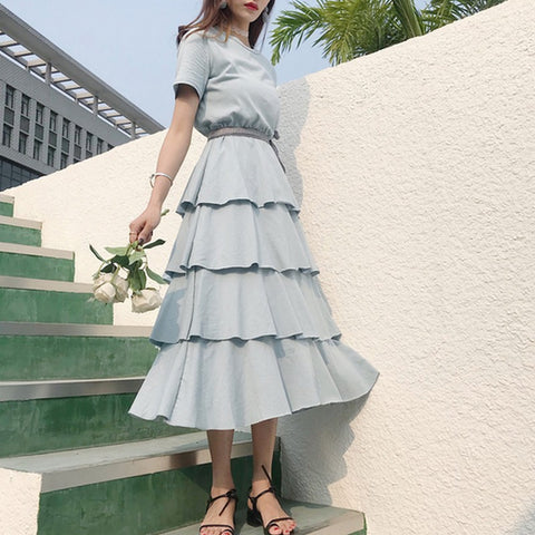 52f5c5b68210 Summer Women Tunic Pleated Dress With Belt Short Sleeve Pin Up Design Vestidos  Ladies Ruffles Cake