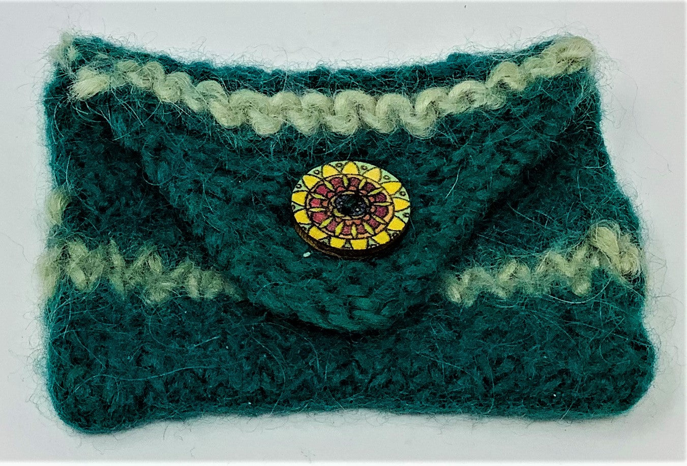 "JBC28 Coin/Credit Card Purse, Shades of Green, 100% Wool, Knitted/Felted, Button Closure, 4"" x 2.5"", by Judi Bernards"