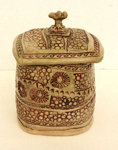 AP53 - Lidded Vessel - Clay Sculpture - 7x5x5 - by Andrea Payton