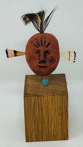 "ALP1 Spirit Sculpture, ""Spirit Man Red"", Ceramic, Mixed Media, 4"" x 5"" x 2"", by Alanna Pass"