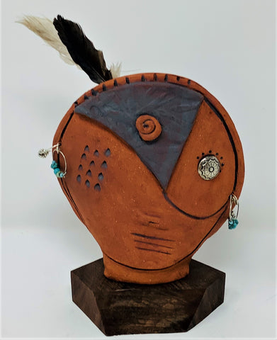 "ALP21 Spirit Sculpture, ""Gaia Daughter"", Ceramic, Mixed Media, 5"" x 8"" x 3"", by Alanna Pass"