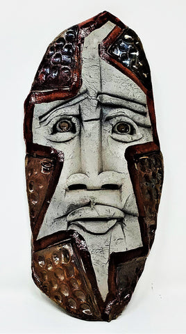 "MS10 Mask, ""Mex Jeab"", Ceramic, 4"" x 9"" x .25"", Mike Santone"
