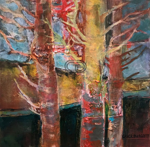 CB1 - Winter Trees 1 - Acrylic Painting - 12x12x2 by Carol Barnett - currents-gallery