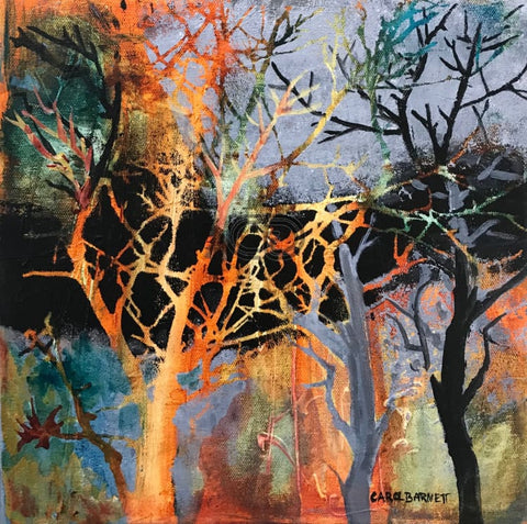 CB2 - Winter Trees 2 - Acrylic Painting - 12x12x2, by Carol Barnett - currents-gallery