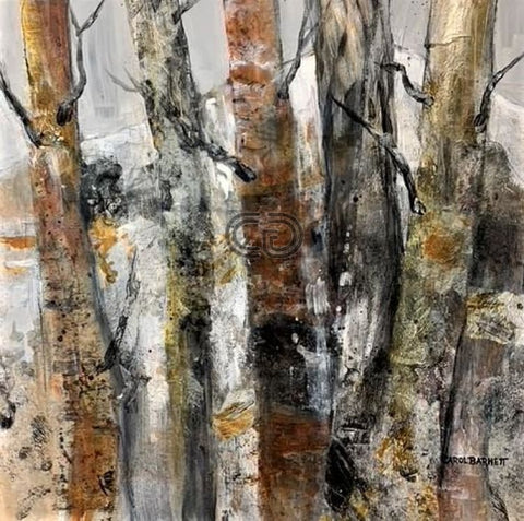 "CB5 Painting, ""Winter Trees #5"", Acrylic Collage, Matted with Black Frame, 30"" x 30"" x 2"", by Carol Barnett"