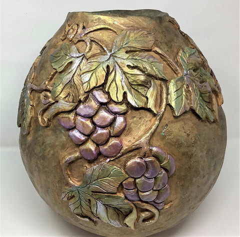 "CH153 Gourd, ""Harvest Time"", Jug, Carved, Painted, Sculpted, 14"" x 13"" Diameter, by Claudia Herber"