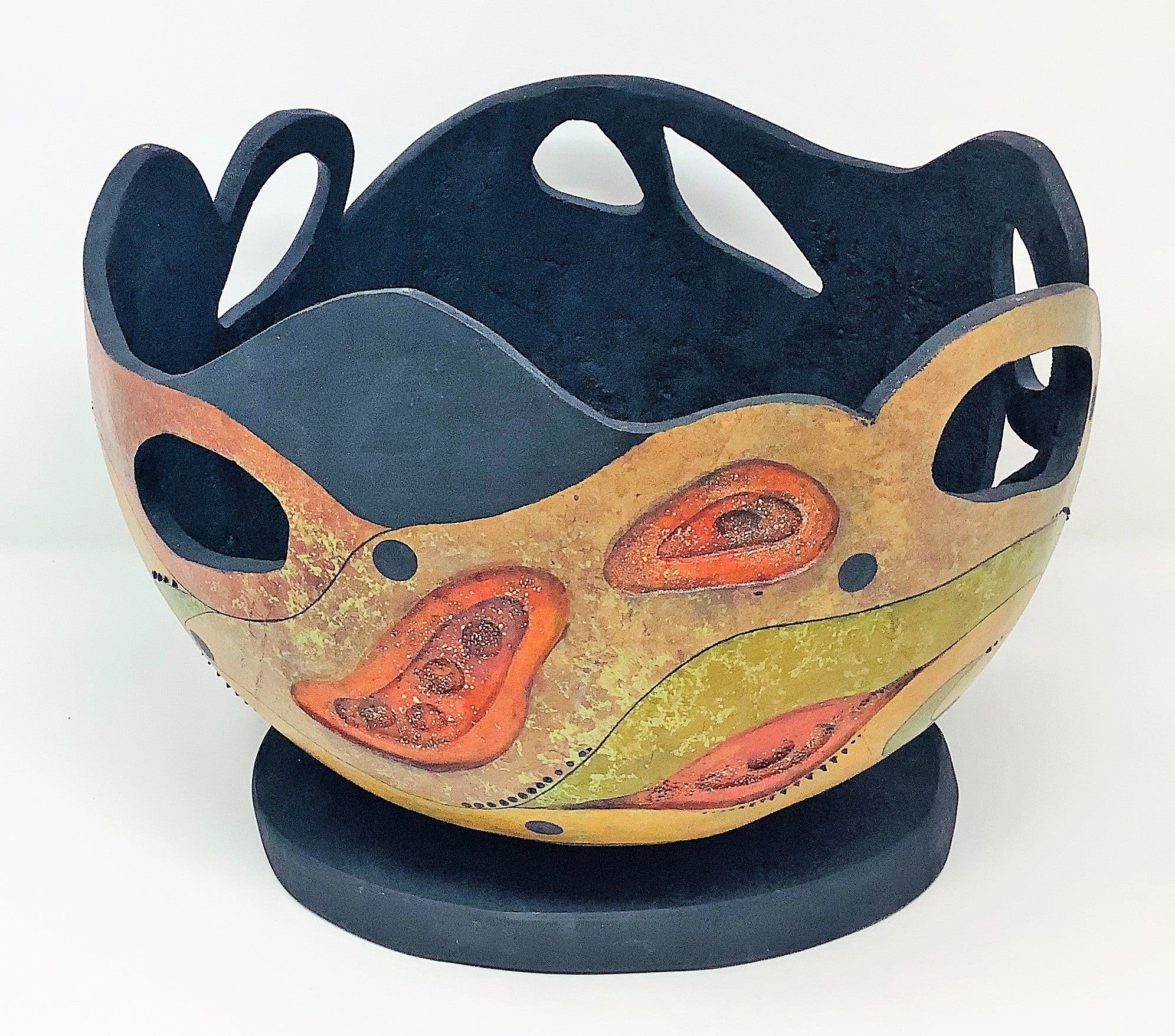 "CH132 Gourd, ""Movement Bowl and Stand"", Hand-Carved, 12"" x 12"" x 9"", by Claudia Herber"