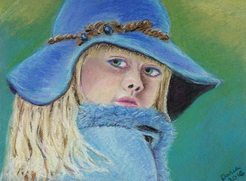 "DM2 Painting, ""Little Girl Blue"", Pastel, Framed, 14"" x 18"" x 1.5"", by Daria Martinez"