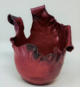 "DH2019 Sculpture, ""Heavy Red Cup"", Copper Vessel, 3"" x 4"" x 3"", by Dave Hanson"