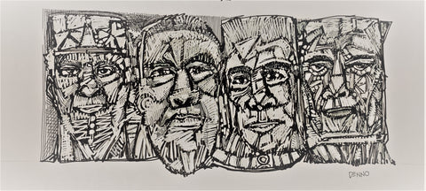 "DD5 Pen & Ink Drawing, ""Shoulder to Shoulder"", 14"" x 9.5"" x 1"", by Debby Denno"