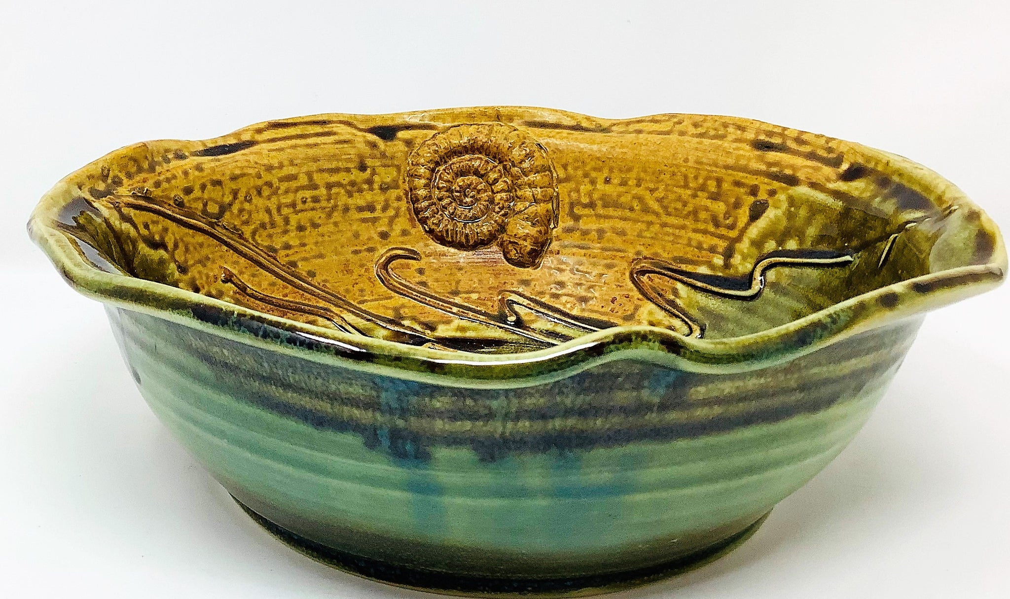 "EW285 Ceramic Bowl, ""Shells"", 9.5' x 9.5' x 3.5"", by Elaine Walzl"