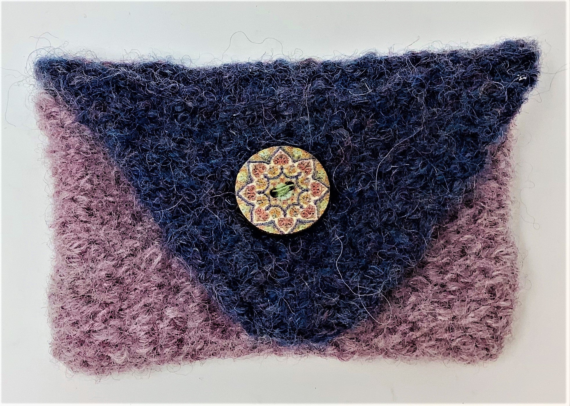 "JBC27 Coin/Credit Card Purse, Navy & Lilac, 100% Wool, Hand Knit & Felted, with Hand Painted Button, 4""x 2.5"", by Judi Bernards"