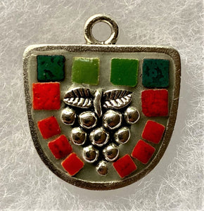 "KM129 Mosaic Necklace, Grape Leaves in Half Oval, Green, Red, Silver, Pendant 1.25"" x 1.25"", by Karel Murphy"