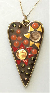 "KM139 Mosaic Pendant, ""Sunflower Heart"", 1.25"" x 1.25"", by Karel Murphy"
