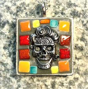 "KM171 Mosaic Necklace, Sugar Skull, Orange, Red, Blue, Yellow, in Square, Pendant 1"" x 1"", by Karel Murphy"