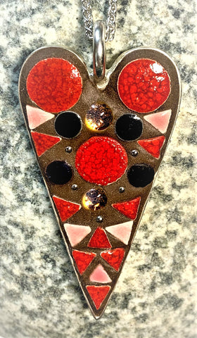"KM174 Mosaic Necklace, Red, Pink, Black, Dichro, Heart, Pendant 1.25"" x 2.25"", by Karel Murphy"