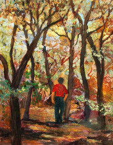 "KB4 - Walking in the Woods - 11""x14""x2.5"" - Acrylic on Paper on Cradle Board - by Kathleen Buck - currents-gallery"