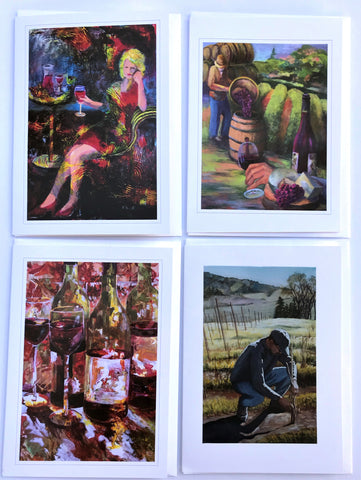 "KBC11 Greeting Card Set, Giclees based on Original Artwork, Acrylic or Watercolor,  each 5"" x 7"",  blank inside with Envelope, by Kathleen Buck"