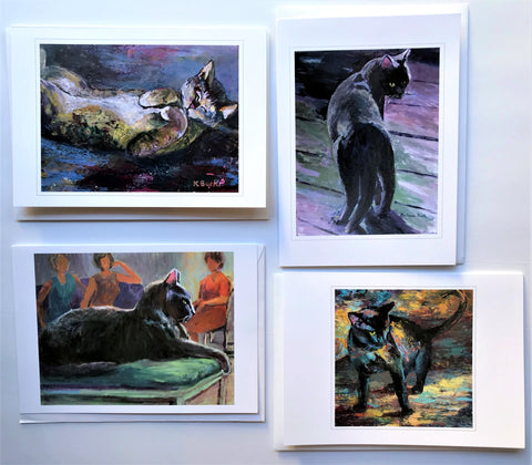 "KBC3 Greeting Card Set, Giclees based on Original Artwork, Acrylic or Watercolor, each 5"" x 7"", blank inside with Envelope, by Kathleen Buck"