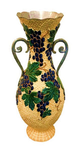"KT2 Ceramic, Mosaic Vase, ""Grape Leaf"", 27"" x 12"", by Kathy Thompson"
