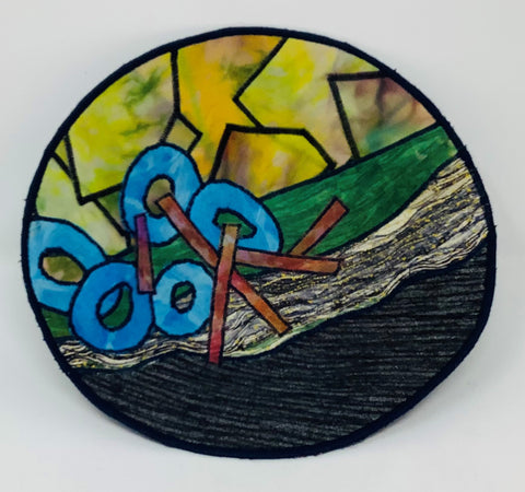 "MWB4 Fiber, Wall Art, Bowl, ""5 Blue O's"", 10"" x 10"" x 2"", by Maria Winner"