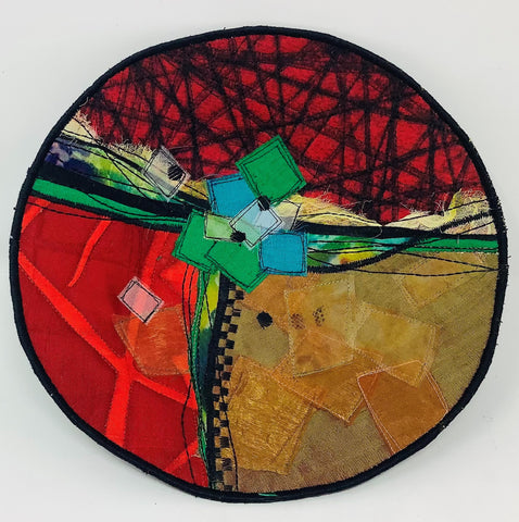 "MWB5 Fiber, Wall Art, Bowl, Red, Green & Blue Squares, 10"" x 10"" x 2"", by Maria Winner"