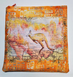 "ME2065 Small Pouch, ""Kangaroo Country"", Zipper Closure, Zipper Pull, Lined, Embroidery, Applique, Original Art, 5.5"" x 5.5"", by Marlene Eichner"