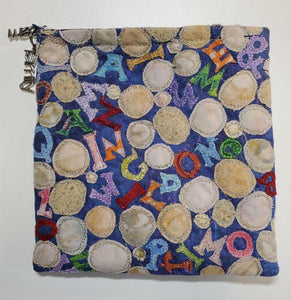 "ME2067 Small Pouch, ""4 U & Me"", Cottons, Zipper Closure & Pull, Lined, Free-Style Applique & Metallic Thread Painting, 5.5"" x 5.5"", by Marlene Eichner"