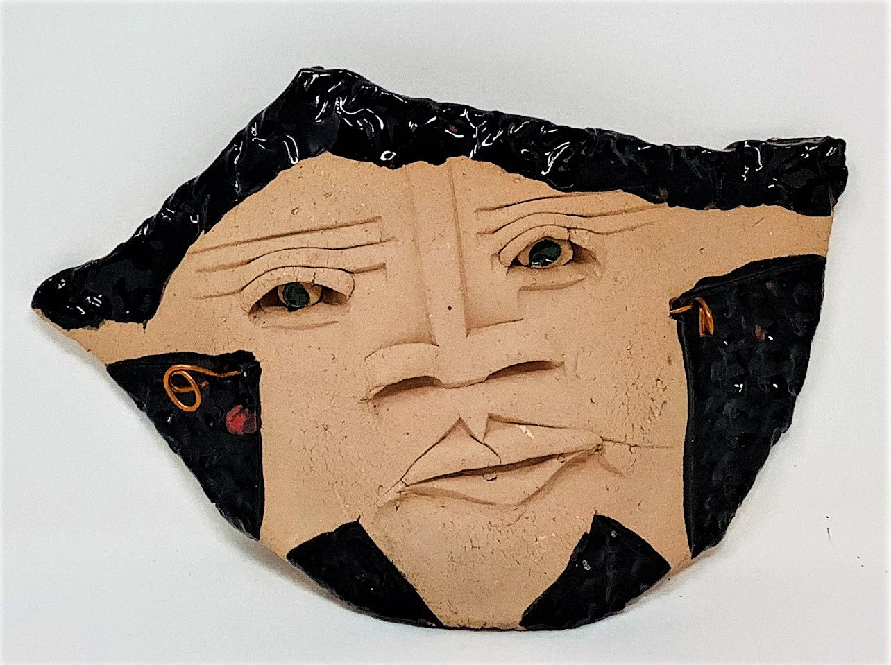 "MS8 Mask, ""Lestifal"", Ceramic, 7"" x 5"" x 1"", by Mike Santone"