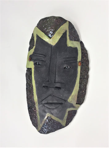 "MS6 Mask, ""Lexor"", Clay Wall Art, 13""x8"", by Mike Santone - currents-gallery"