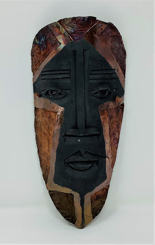 "MS11 Mask, ""Roh-Lah-Beh"", Ceramic, 5"" x 11"" x 2"", by Mike Santone"