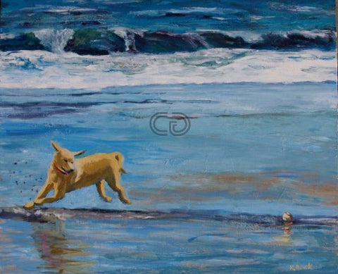 Kb3 - Playing Fetch 20X24X2 Acrylic On Canvas By Kathleen Buck Paintings