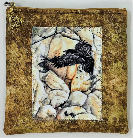 "ME2016 Small Pouch, ""Raven Rock"", Zipper Closure, Zipper Pull, Lined, Embroidery, Applique, Original Art, 5.5"" x 5.5"", by, Marlene Eichner"