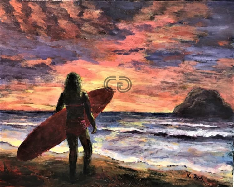 Kb18 Painting Surfing At Sunset 16 X 20 By Kathleen Buck Paintings