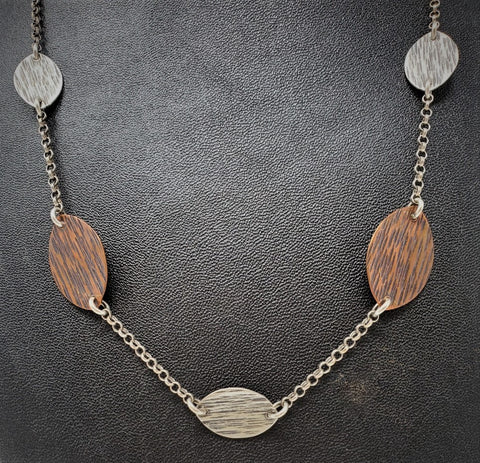 "SFA202 Necklace, ""Leafy Chain"", Sterling Silver & Copper, Textured, 9"", by Susie Aoki"