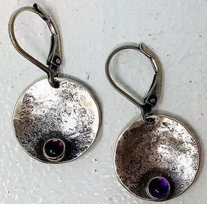 "SFA205 Earrings, Sterling Silver, Amethyst, Leverback, .75"" x 1 .25"", by Susie Aoki"
