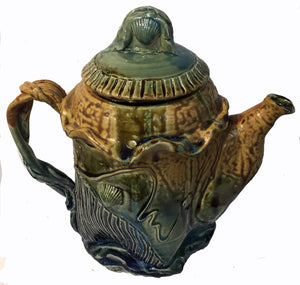 "EW300 Ceramic Teapot, Shell Designs, 11"" x 9.5"", by Elaine Walzl"