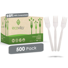Load image into Gallery viewer, Ecovita Compostable Biodegradable Forks Cutlery Utensils Bulk