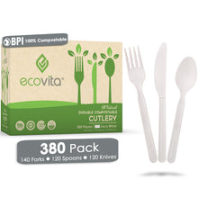 Load image into Gallery viewer, Ecovita Compostable Biodegradable Forks Spoons Knives Cutlery Utensils White