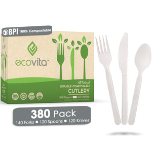 Ecovita Compostable Biodegradable Forks Spoons Knives Cutlery Utensils White