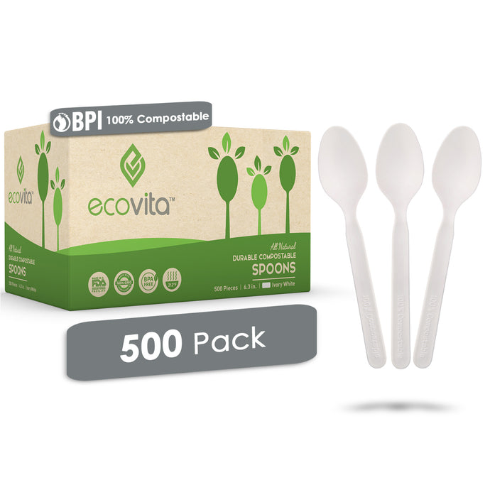 Ecovita Compostable Biodegradable Spoons 140 Cutlery Utensils Bulk