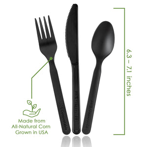 100% Compostable Forks Spoons and Knives - 380 Piece Eco Cutlery Combo Set - Eco Friendly Alternative to Plastic Silverware